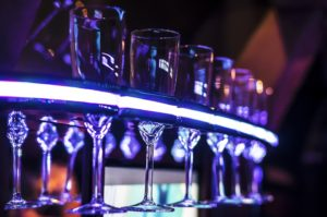 champagne glasses in a limo